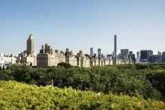 中央公园和曼哈顿skycscrapers 免版税库存图片