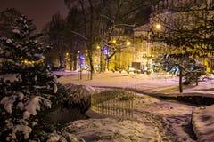 中央公园在晚上- Marianske Lazne Marienbad -捷克 库存图片