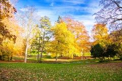 中央公园在秋天-小西部漂泊温泉镇Marianske Lazne Marienbad -捷克的中心 库存图片