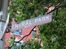 中央公园标志 免版税库存照片