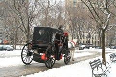 中央公园雪冬天 免版税图库摄影