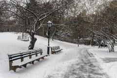 中央公园,在雪风暴以后的纽约 免版税图库摄影
