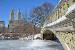 中央公园,纽约弓桥梁在冬天。纽约。 库存照片