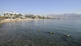 中央公开海滩在埃拉特,以色列 股票视频