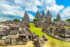 中央印度印度尼西亚Java prambanan寺庙日惹 免版税图库摄影