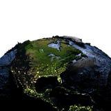 中央和北美地球上在晚上与被夸大的mou 免版税库存图片