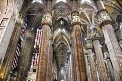 中央寺院大教堂在米兰,里面看法 库存图片
