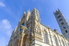 中央寺院的门面,锡耶纳,托斯卡纳,意大利 图库摄影