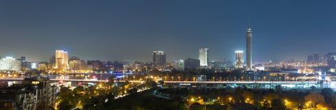 中央开罗夜全景 库存照片