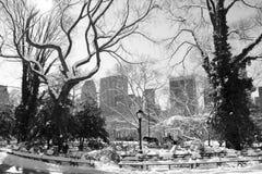 中央曼哈顿公园雪冬天 库存照片