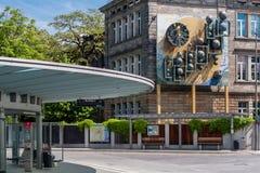 中央汽车站在老镇拜罗伊特 库存照片