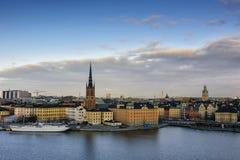 中央海岛riddarholmen小的斯德哥尔摩瑞典 瑞典 免版税库存图片