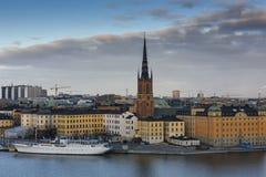 中央海岛riddarholmen小的斯德哥尔摩瑞典 瑞典 免版税库存照片