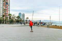 中央海滩巴塞罗那 沙子和现代建筑学 库存照片
