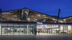 中央火车站在晚上,提耳堡大学,荷兰 库存照片