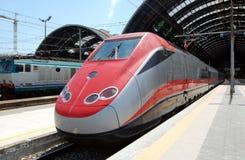 中央米兰火车站培训 免版税库存照片