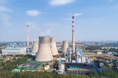 中央系统暖气工厂次幂上升暖流 库存图片