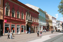 中央街道在科希策 免版税库存图片