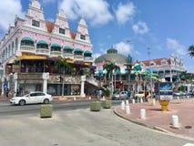 中央街道在Oranjestad,阿鲁巴 库存照片
