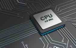 中央计算机处理器, CPU计算机科技,电子概念 库存例证