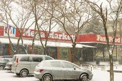 中央超级市场在波摩莱,保加利亚, 12月31日 免版税库存照片