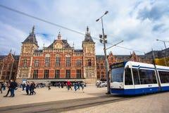 中央驻地火车运输插孔阿姆斯特丹 免版税库存照片