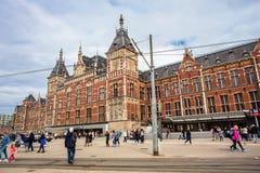 中央驻地火车运输插孔阿姆斯特丹 免版税库存图片