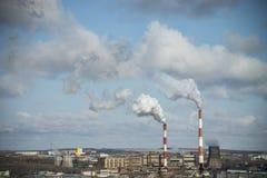 中央系统暖气工厂次幂上升暖流 免版税库存照片