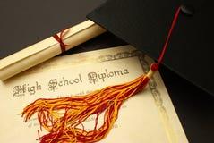 中学毕业证书 免版税库存照片