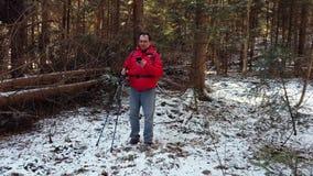 中年人徒步旅行者在木头丢失了 股票视频