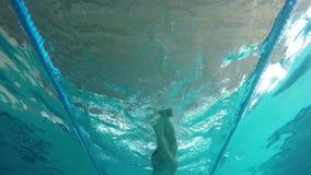 中年白种人人游泳在水中,在游泳场在帕拉莫斯在西班牙 股票视频