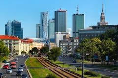 中心商务区看法在华沙,波兰 免版税库存照片