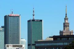 中心商务区看法在华沙,波兰 库存图片