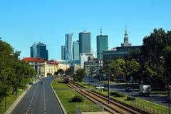 中心商务区看法在华沙,波兰 免版税图库摄影