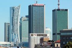 中心商务区看法在华沙,波兰 免版税库存图片
