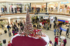 中心圣诞节购物时间 免版税库存照片