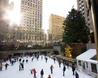 中心圣诞节nyc洛克菲勒季节 库存图片
