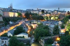 中心城市有历史的卢森堡查看 免版税库存照片