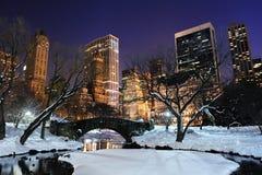 中心城市黄昏曼哈顿新的公园约克 免版税图库摄影