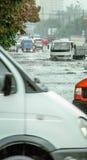 2011中心城市洪水法兰克福德国1月 免版税图库摄影