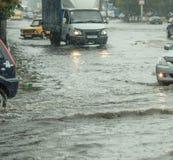 2011中心城市洪水法兰克福德国1月 库存图片