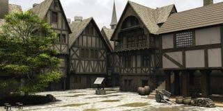 中心幻想市场中世纪城镇 免版税库存图片