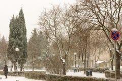 中心广场在波摩莱,保加利亚, 12月31日 库存照片