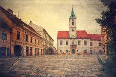 中心广场在Varazdin。克罗地亚。 免版税库存图片