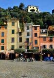 中心广场,菲诺港,利古里亚,意大利 库存照片