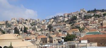 从中心玛里屋顶的拿撒勒  库存照片