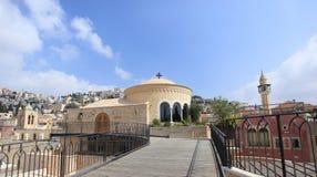 中心玛里de拿撒勒,以色列教堂  免版税库存图片