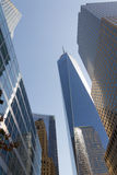 中心纽约Scyscrapers财政区都市风景 库存图片