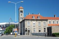 中心艾恩德霍芬, PSV橄榄球场和Steentjes kerk 免版税库存图片