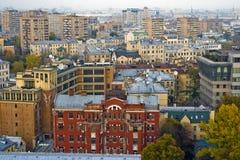 中心莫斯科顶房顶日落 免版税图库摄影